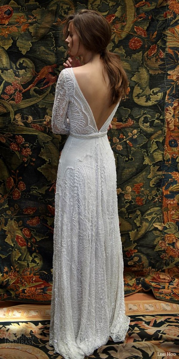 Lihi Hod wedding dress with logn sleeves and v back