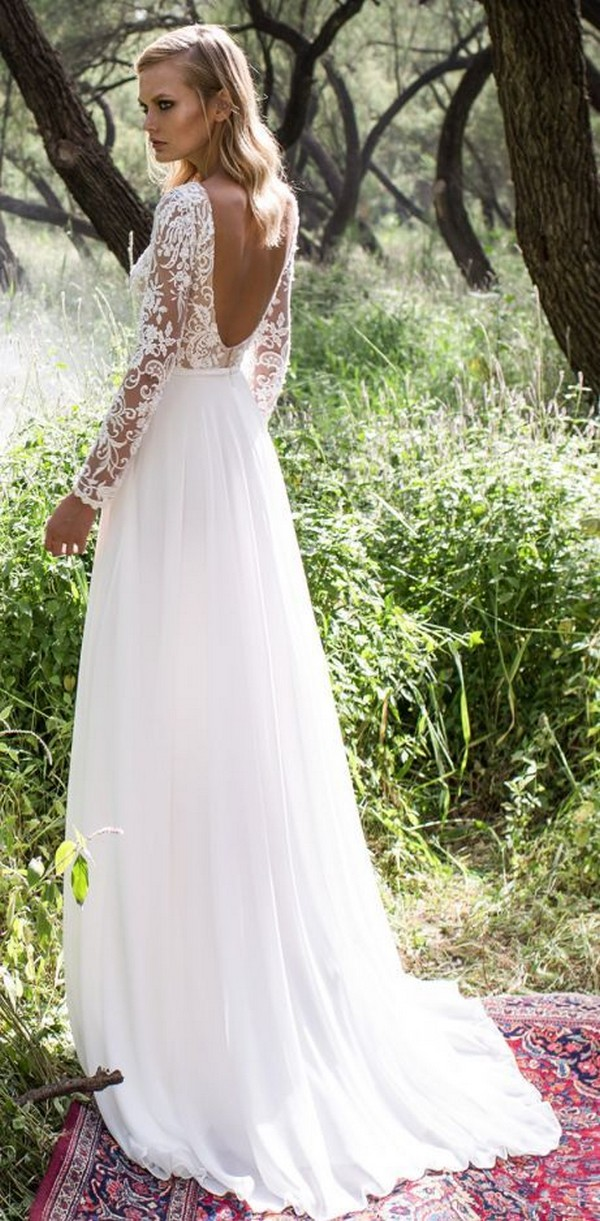 Limor Rosen boho wedding dress with long lace sleeves