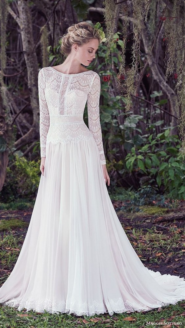 Maggie Sottero wedding dress with long lace sleeves