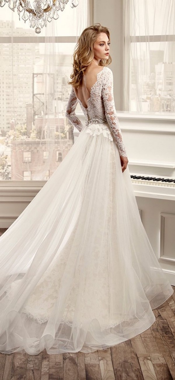 Nicole Spose wedding dress with long lace sleeves