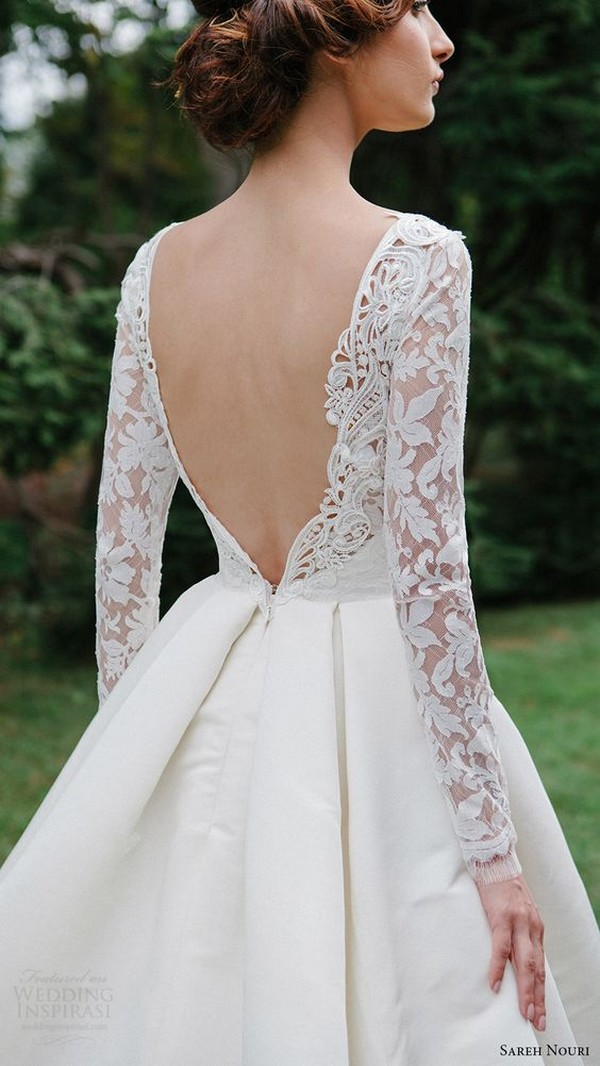 Sareh Nouri wedding dress with long lace sleeves
