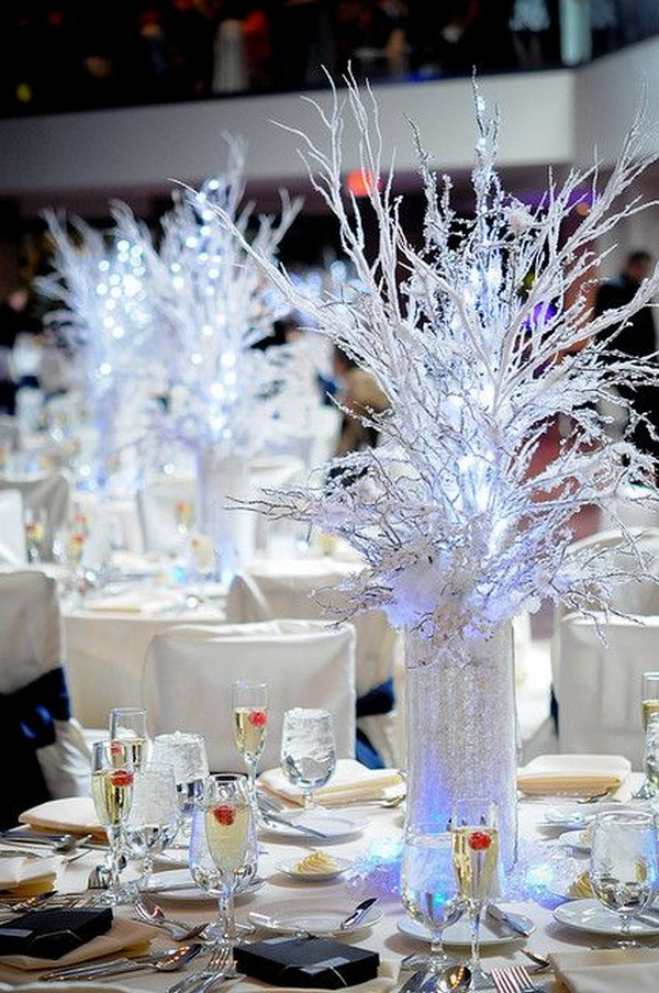 adorable winter wonderland wedding centerpiece ideas