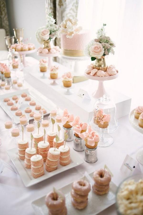 all pink wedding dessert tablescape