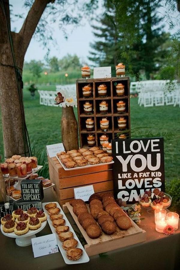backyard outdoor wedding dessert display ideas