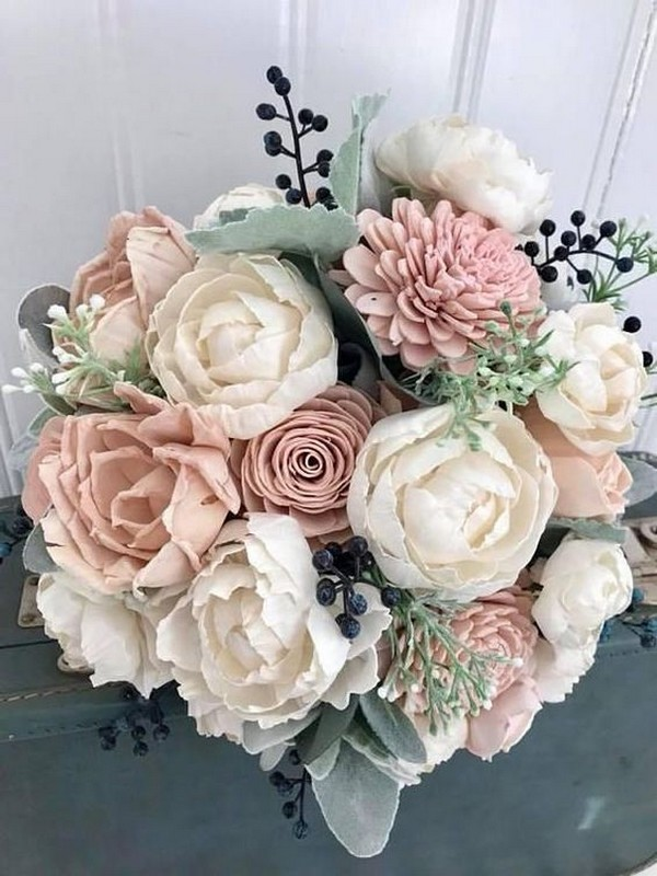 blush dusty rose and navy wedding bouquet