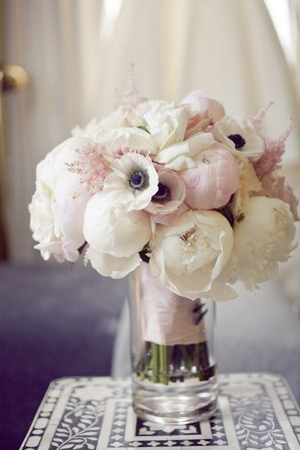 blush pink wedding bouquet with touch of blue
