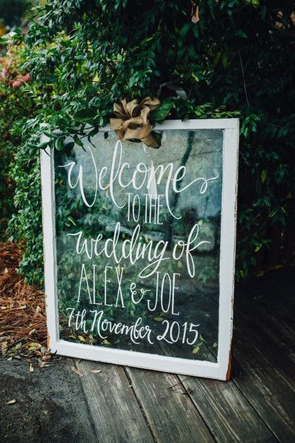 calligraphy chic wedding sign with vintage window frame