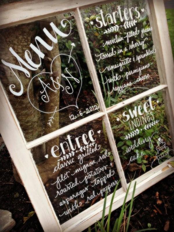 calligraphy rustic wedding sign on vintage window pane