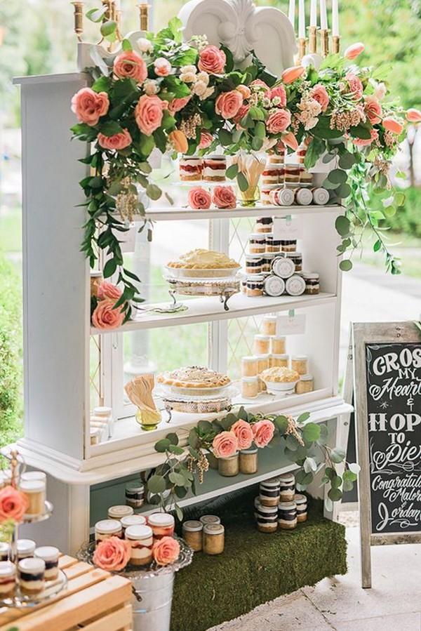 chic garden themed wedding dessert display ideas