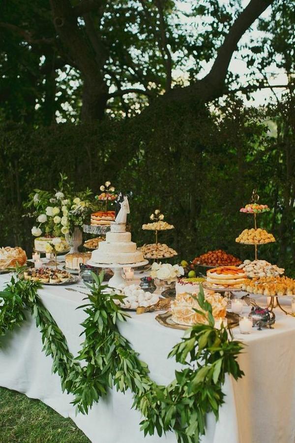 chic outdoor wedding dessert table display