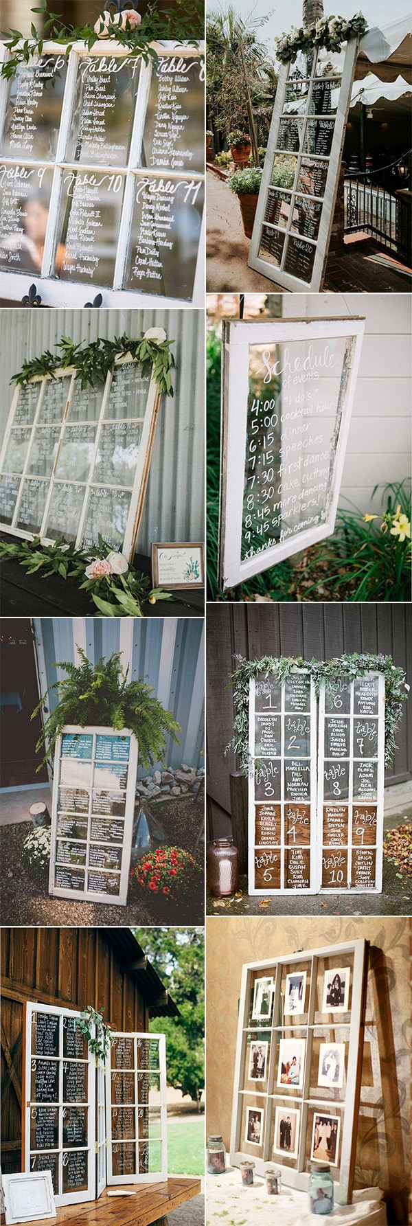 chic rustic calligraphy wedding sign ideas with vintage windows