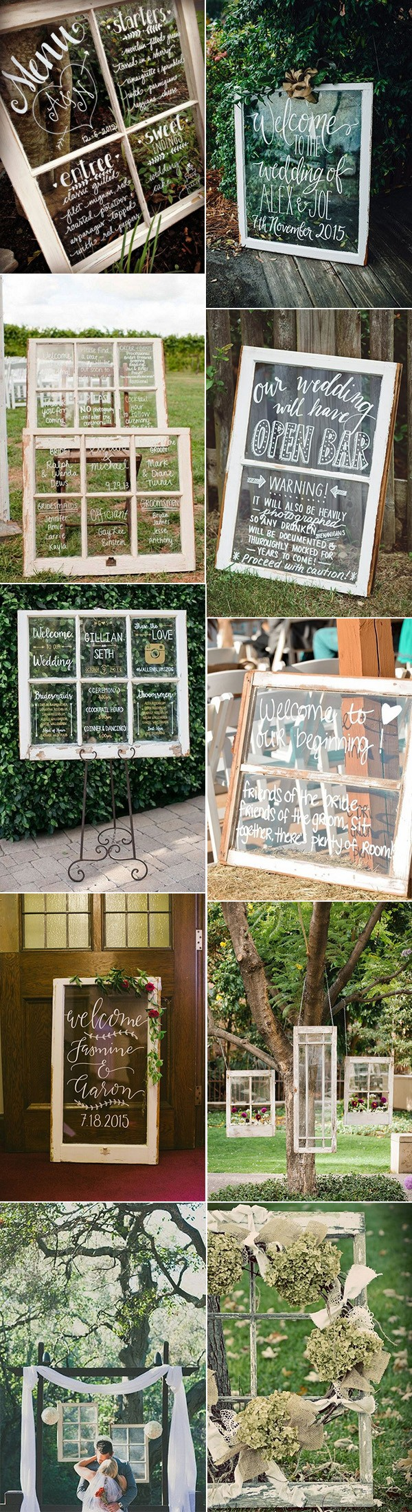 chic rustic wedding decoration ideas with vintage windows