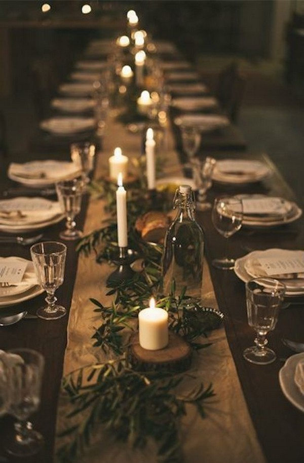 chic rustic winter wedding table runner with greenery