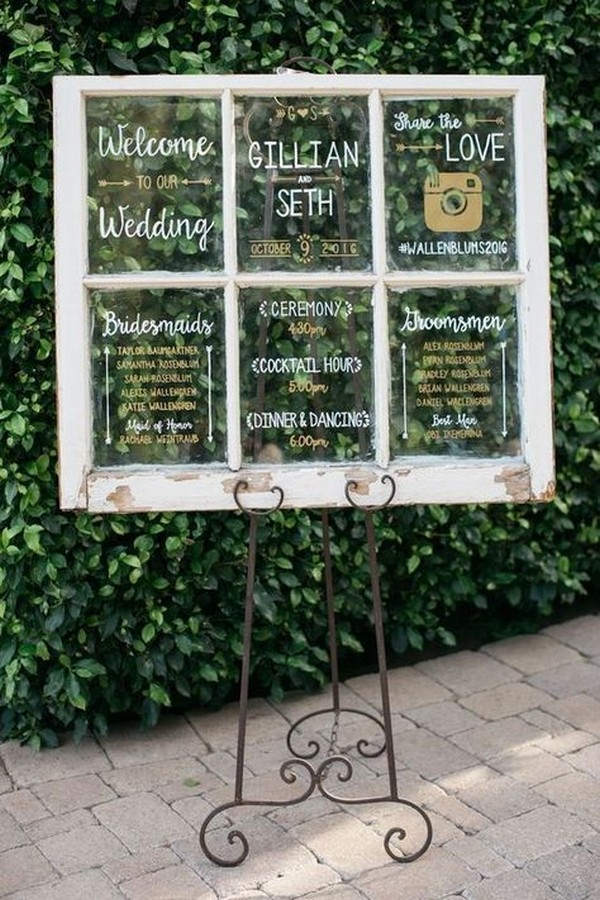 chic vintage wedding sign ideas with window pane