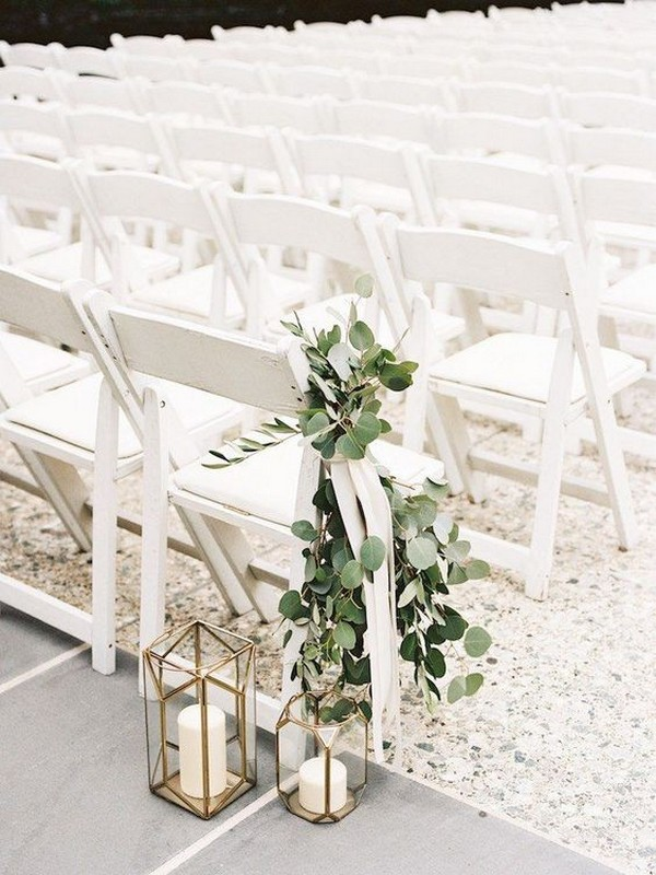 chic wedding aisle decoration ideas with lanterns and greenery