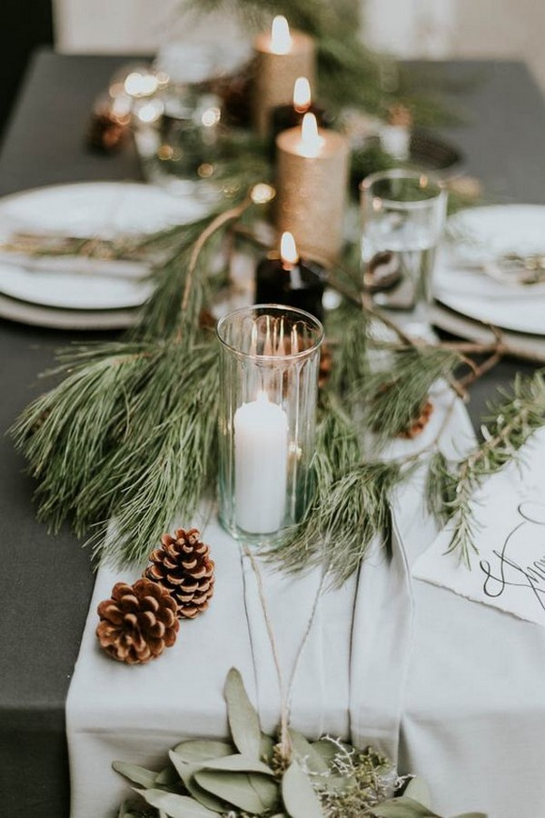 chic winter themed wedding centerpiece ideas
