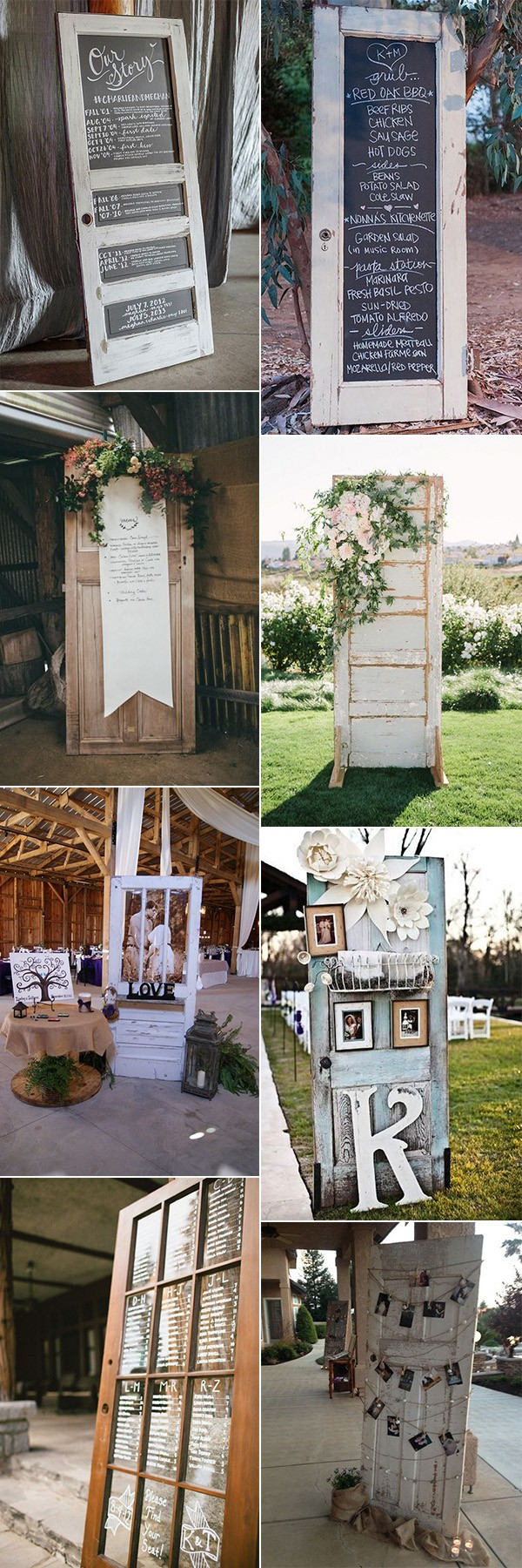 country rustic wedding decoration ideas with vintage doors