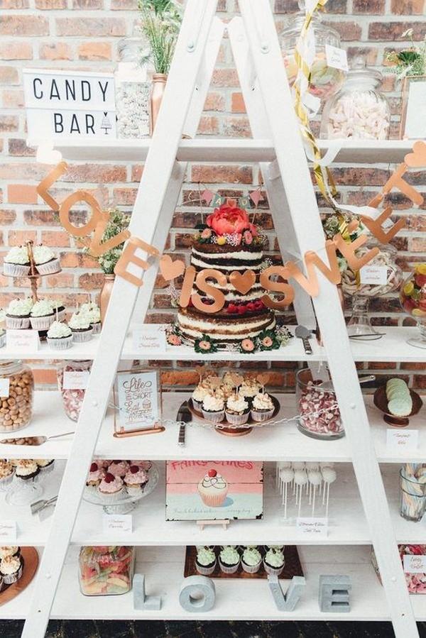 creative wedding dessert display ideas with ladder