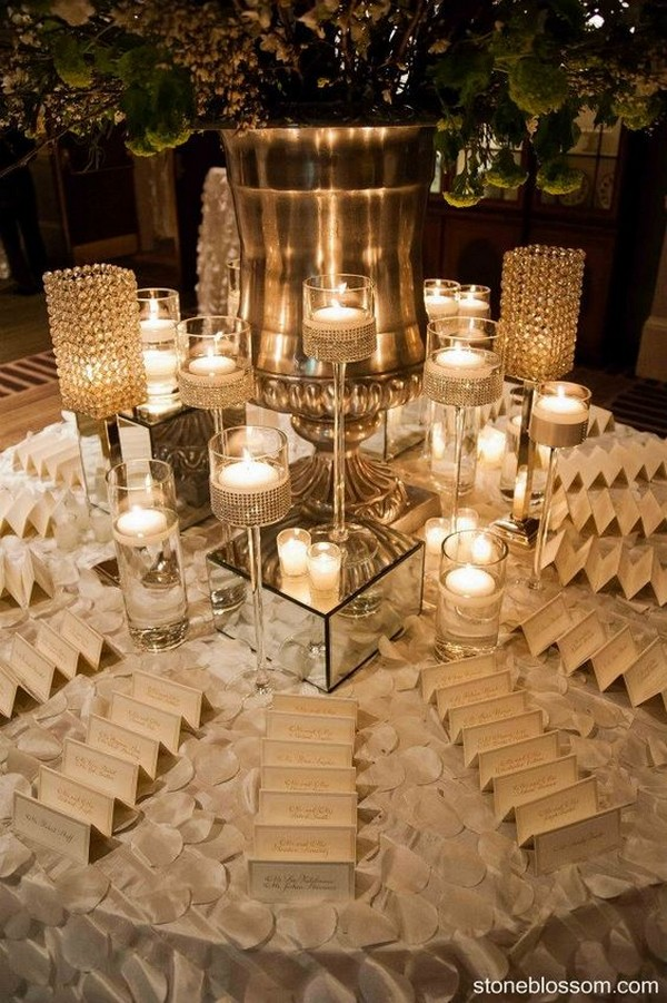 Elegant Wedding Place Card Table Decorations With Floating Candles