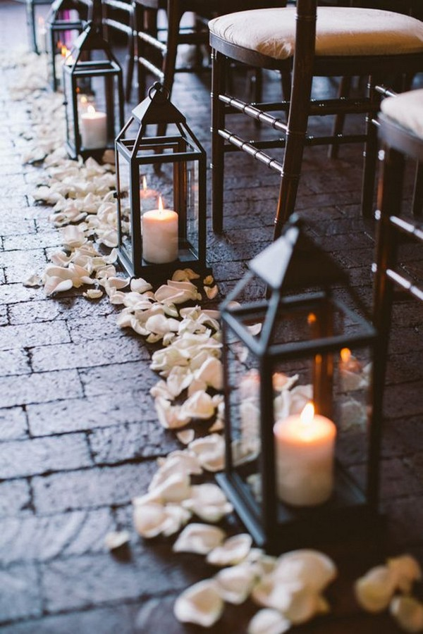 floral and lanterns wedding aisle decorations