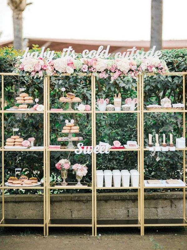 gold standing shelves wedding dessert display