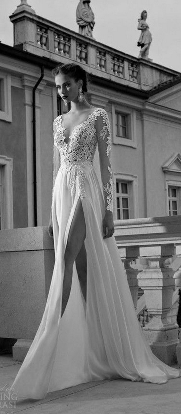 long sleeved bridal wedding dress