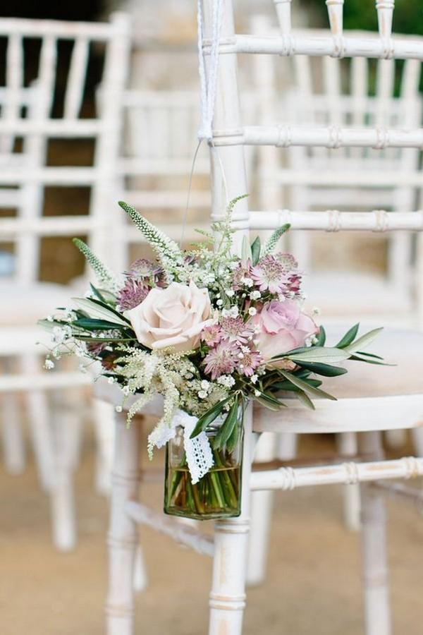 mason jars and flower wedding aisle decoration ideas - EmmaLovesWeddings