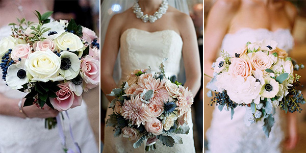 navy and blush wedding bouquets