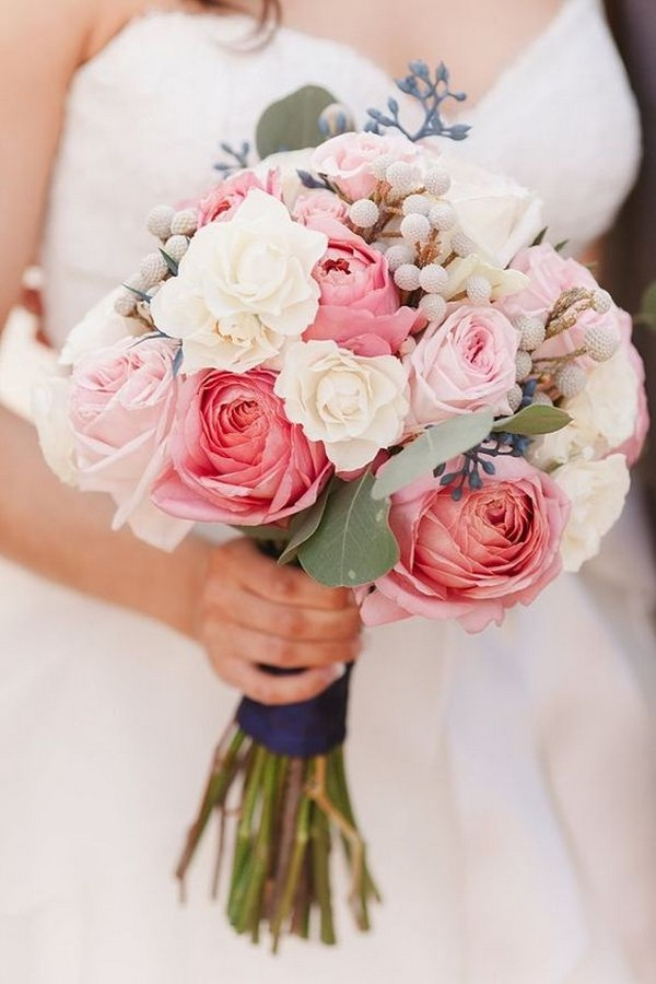navy blue and pink wedding bouquet ideas