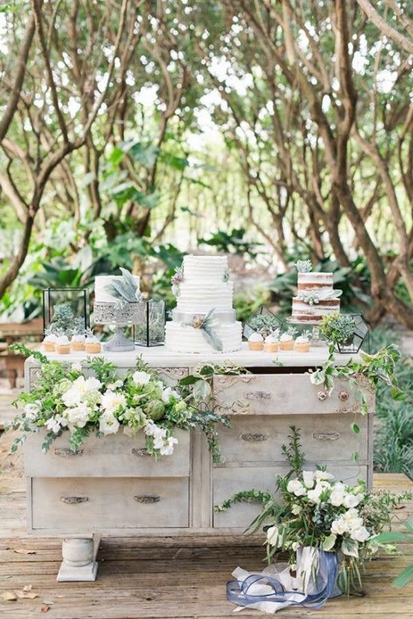outdoor chic garden themed wedding dessert table