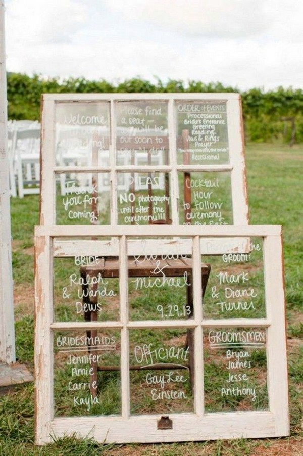 outdoor rustic wedding sign ideas with vintage window