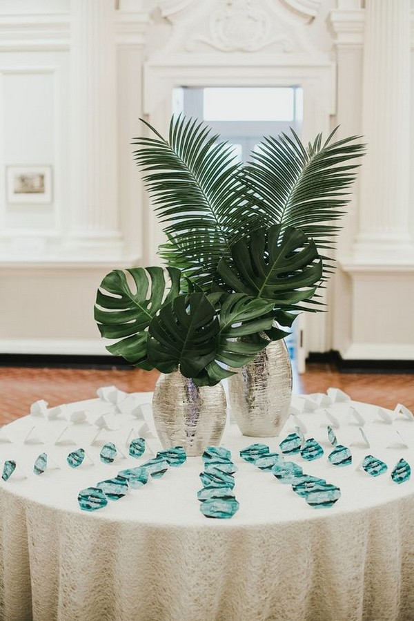 palm wedding place card table with watercolor cards