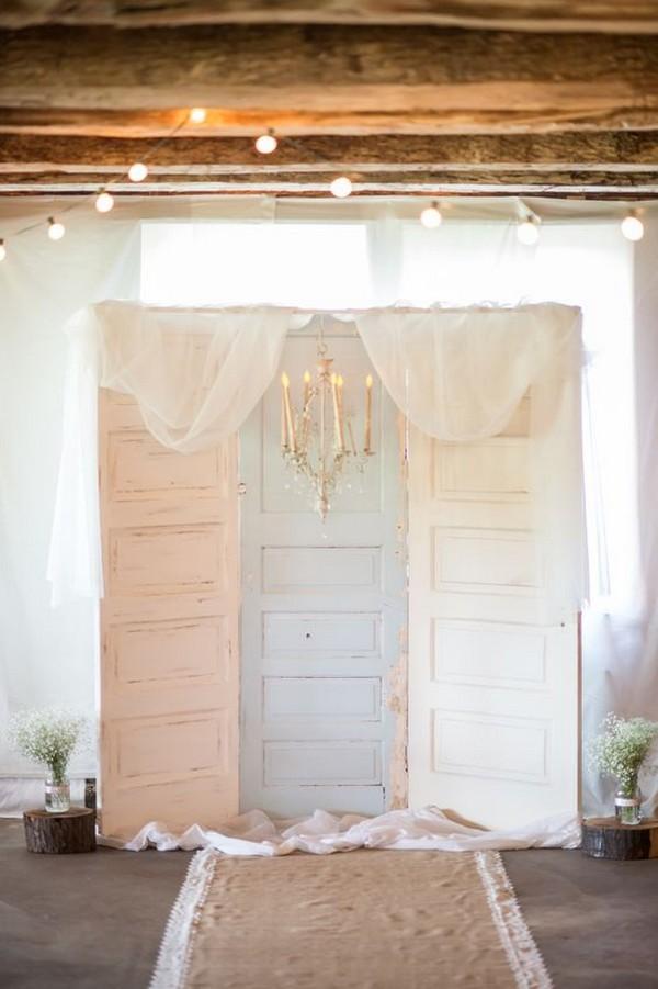 pastel vintage door as wedding backdrop ideas