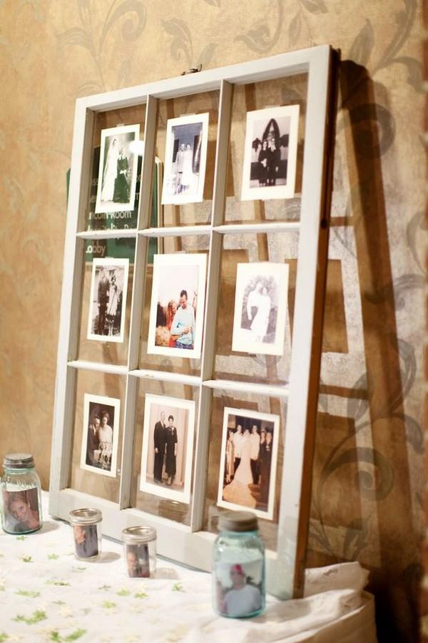 photo display on window pane for vintage wedding ideas