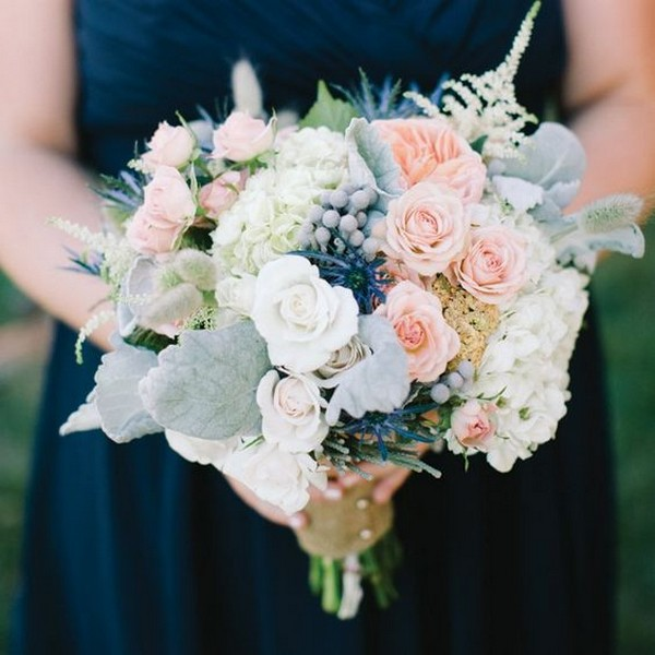 pink and blues wedding bouquet ideas