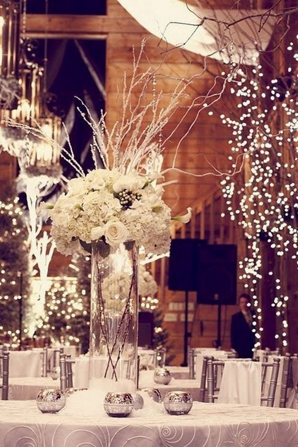 romantic winter wonderland wedding centerpiece ideas