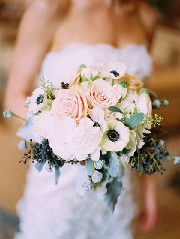 roses and berries navy and blush wedding bouquet