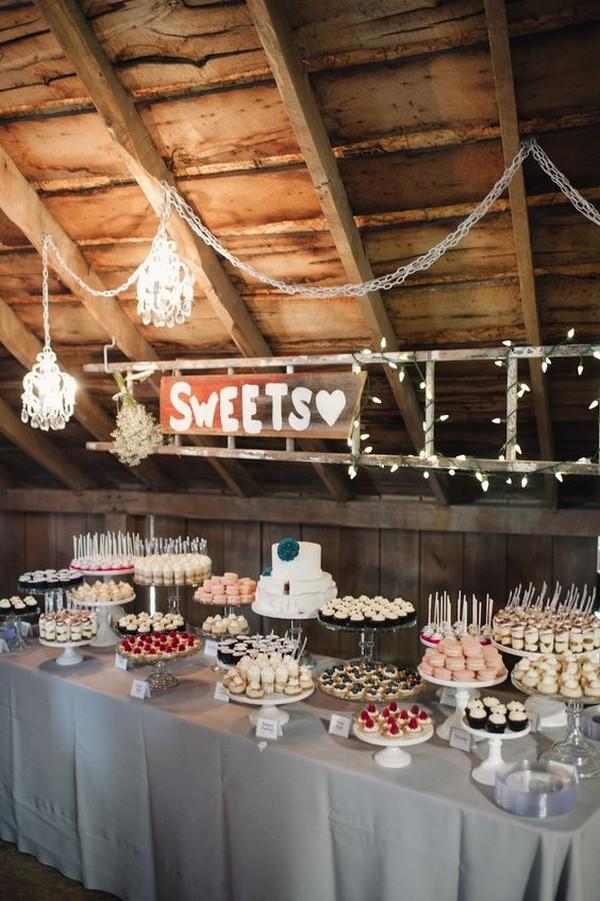 rustic barn wedding dessert table ideas