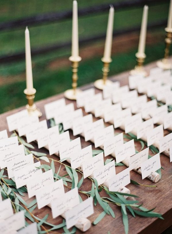 rustic chic wedding place card table decoration ideas