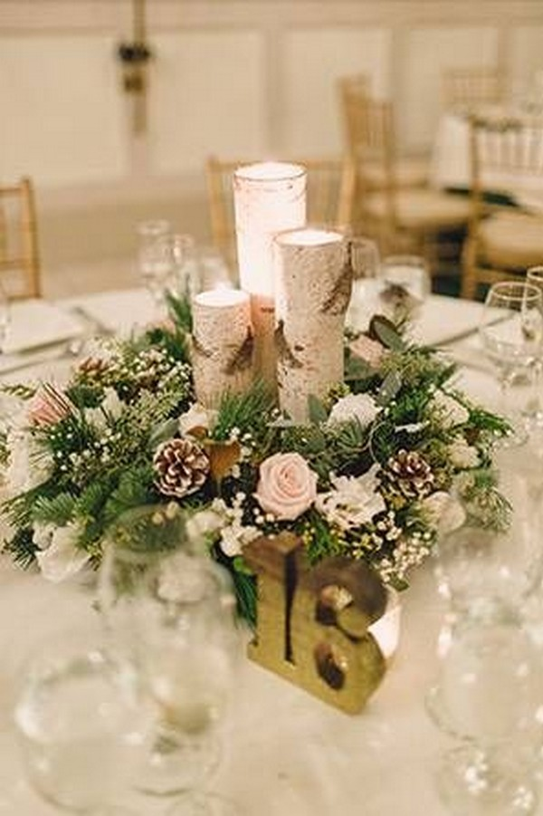 rustic chic winter wedding centerpieces