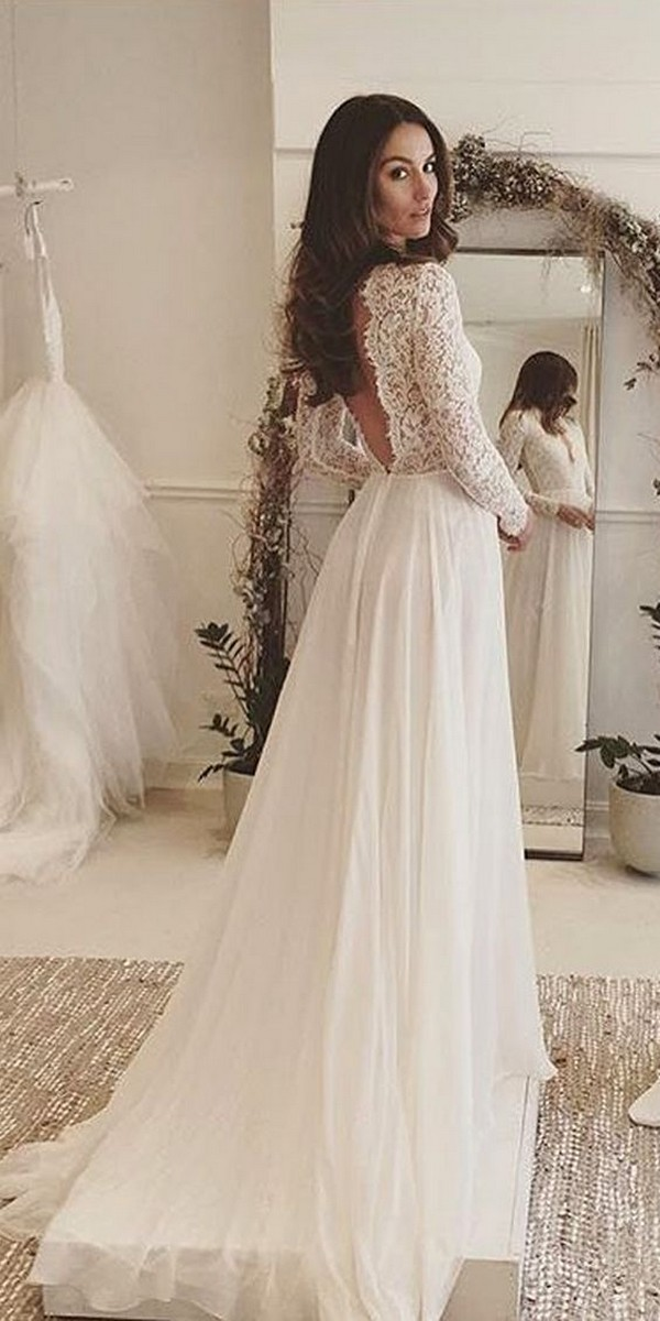 rustic lace wedding dress with long sleeves