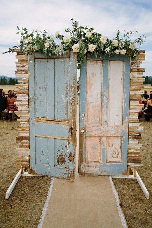 rustic old door wedding ceremony entrance ideas