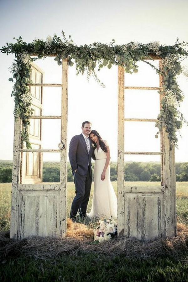 rustic outdoor vinage door wedding arch ideas