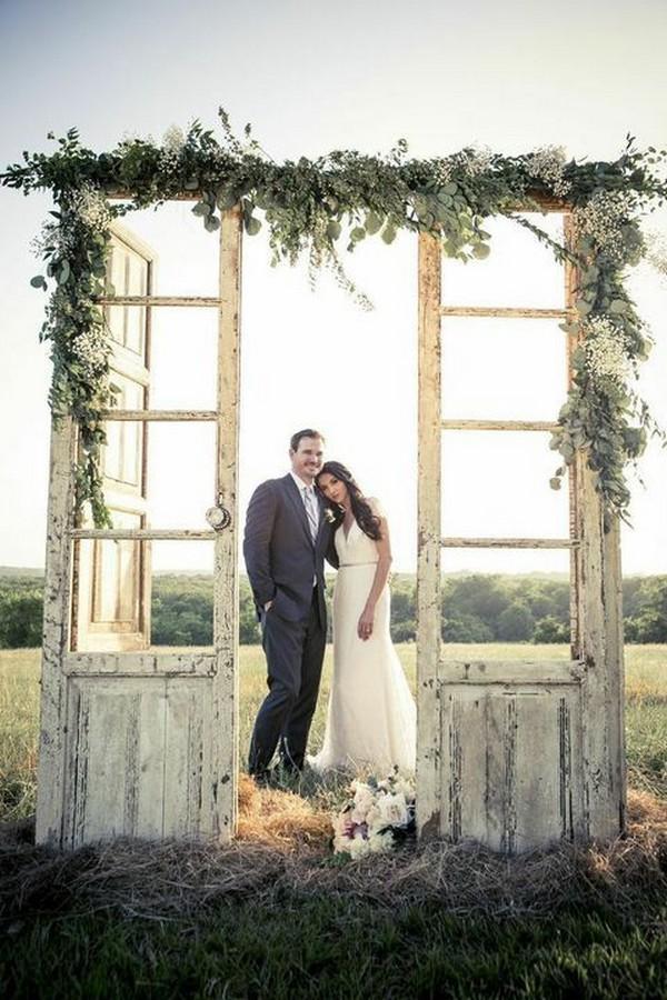 rustic outdoor vinage door wedding arch ideas