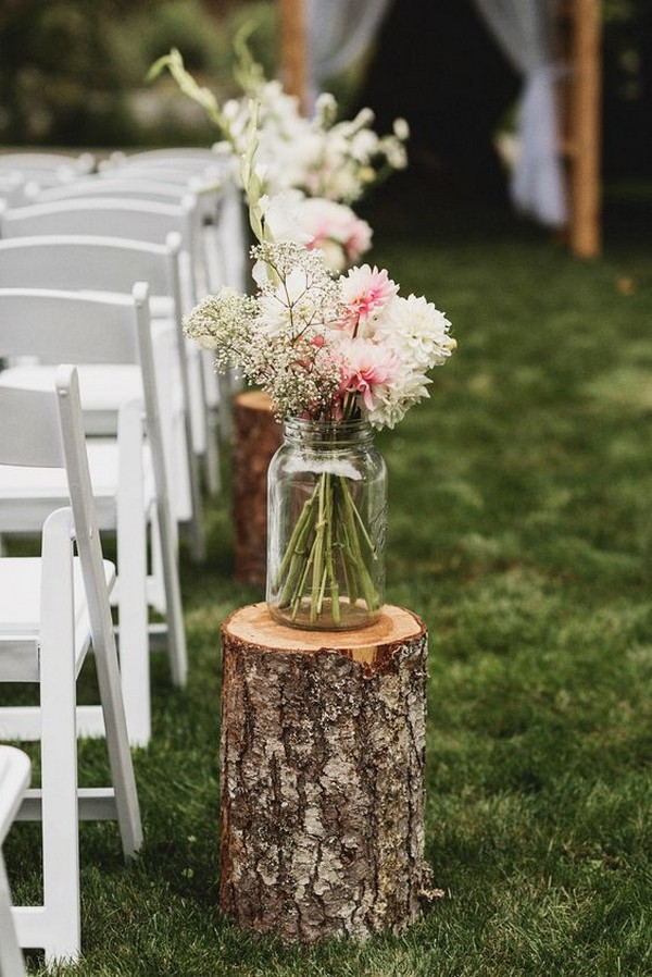 rustic outdoor wedding aisle decors with mason jars