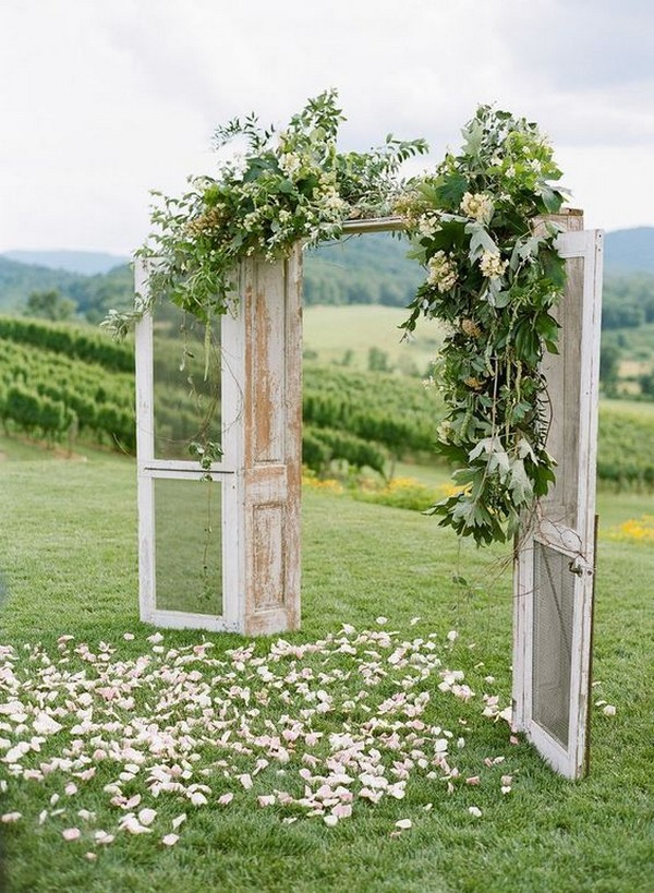 rustic outdoor wedding arch ideas with vintage doors