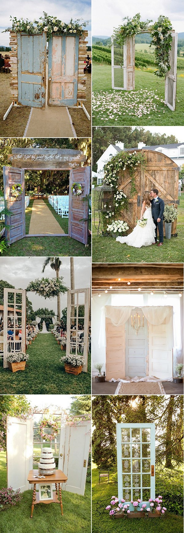 rustic outdoor wedding decoration ideas with vintage doors