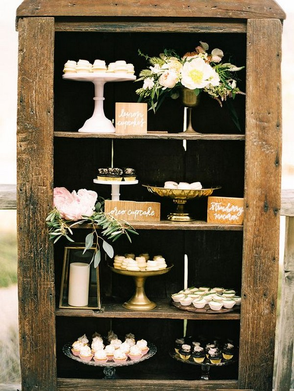 rustic outdoor wedding dessert display