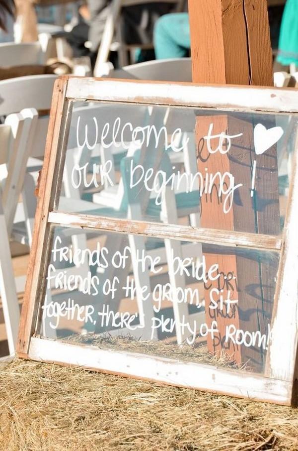 rustic outdoor window pane wedding sign ideas