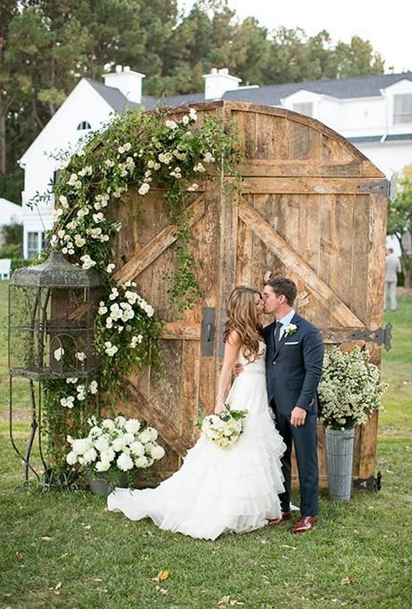 rustic vintage door wedding backdrop ideas